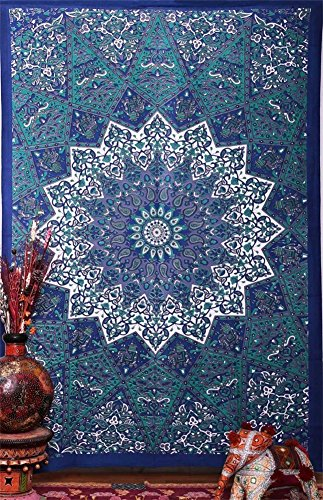 Willing Life Bohemian Soft Yoga Tapestry 59X51 Inch Blue Trim Decoration Hippy Gypsy Wall Hanging Bedspread Couch Cover Home Living Room Bedroom Decor Bedding Rug (Blue Floral, Medium)