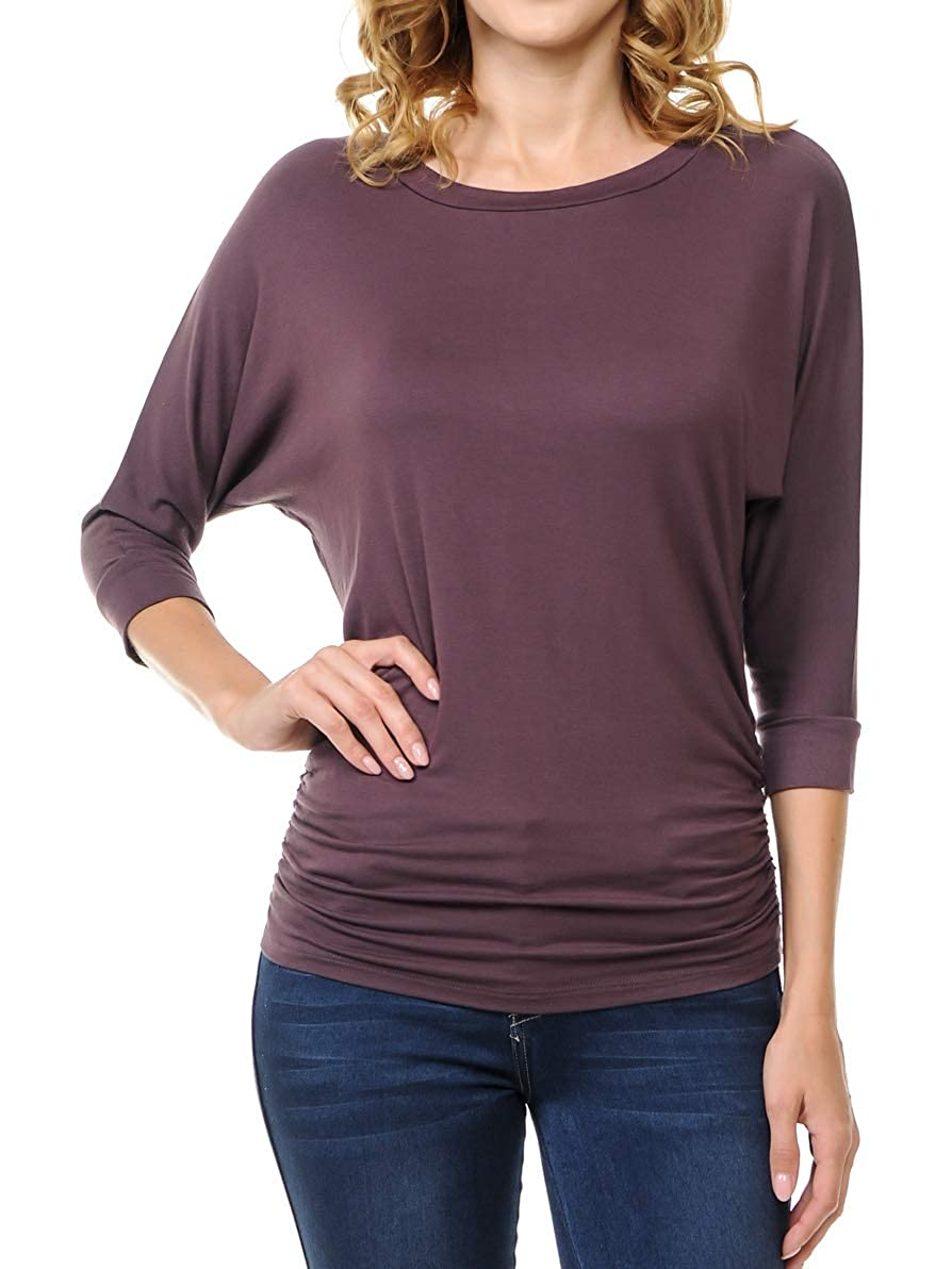 Cocoa Ephphatha Womens 3 4 Sleeve Drape Top with Side Shirring  Designed in USA (S3XL)