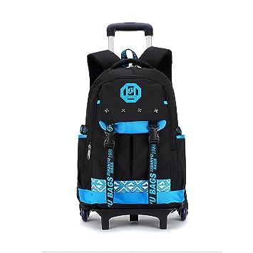 Mochila escolar con ruedas Asdomo, unisex, ruedas extraíbles para niños, niñas, adolescentes, estudiantes, nailon, Black+blue, 11.8X18.1X7.5 inches: ...