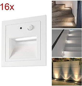 SUBOSI-Juego de 16 lámparas led empotrables de pared iluminacion escalera led escalera empotrables (3 W, aluminio, 230 V, luz blanca cálida, IP65, impermeable), color negro: Amazon.es: Iluminación
