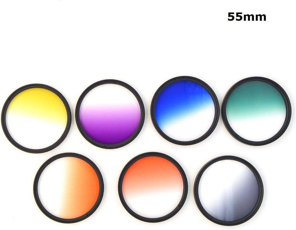 1set 37mm 40.5mm 43mm 46mm 49mm 52mm 55mm 58mm 62mm 67mm 72mm 77mm 7Pcs Graduated Color Gradual Blue Grey Green Orange Red Purple Yellow Lens Filter Protector 58mm