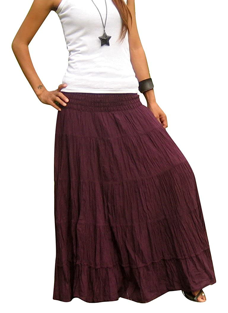 1e658be14 100% Cotton – Handmade cotton maxi skirt plus size made in Thailand. One  Size ( Size 0 - 2X ), Waist - UnStretched= 22