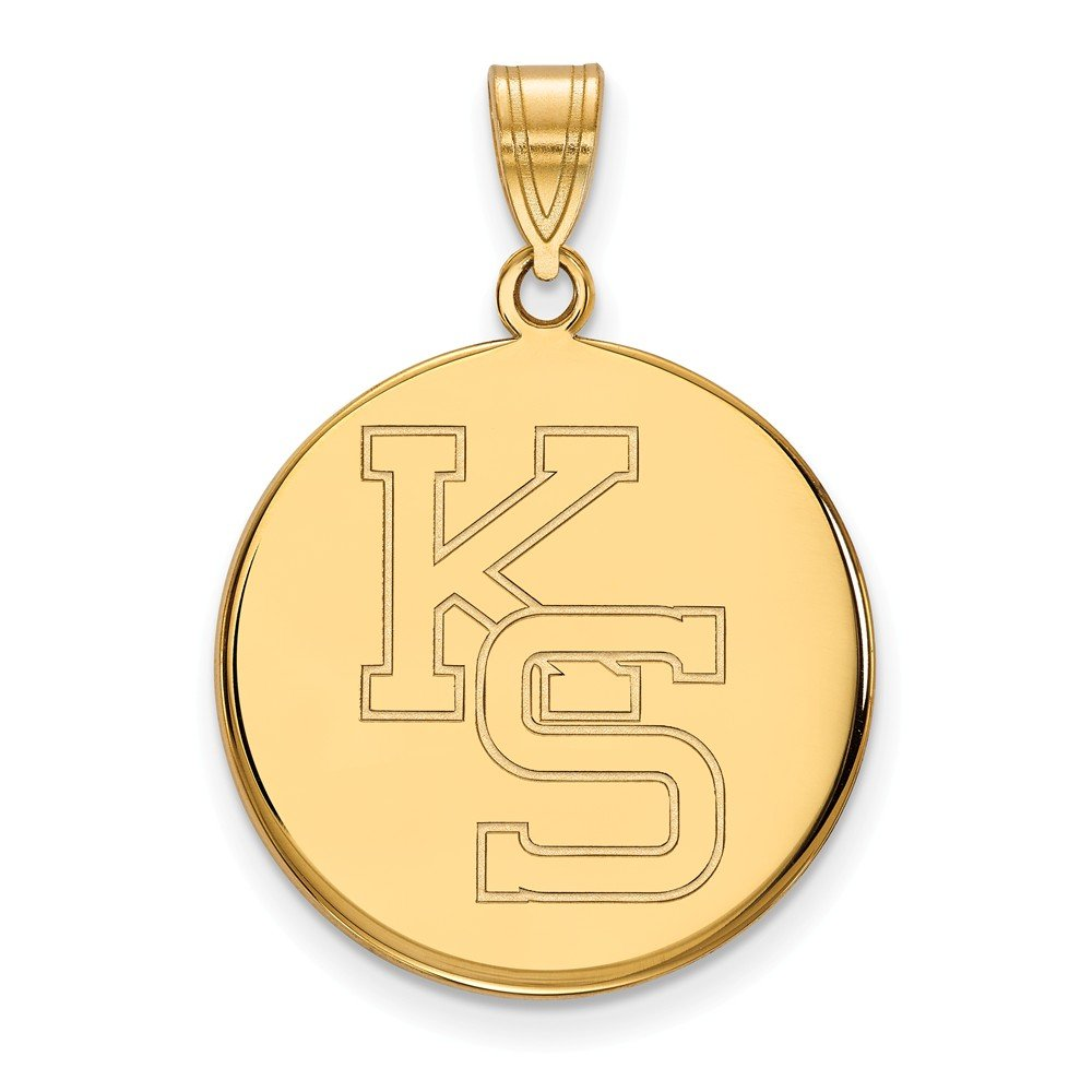 Solid 925 Sterling Silver with Gold-Toned Kansas State University Large Pendant 21mm x 30mm