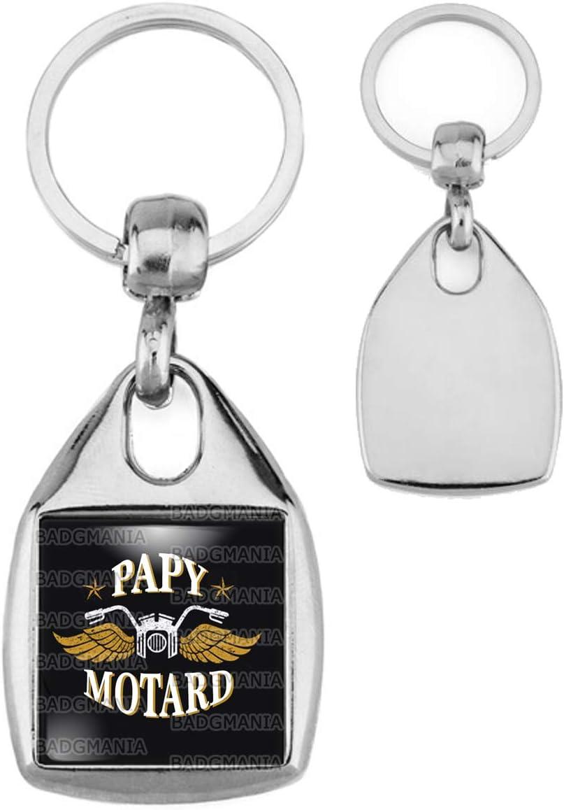Porte Cl/és Carr/é Acier Papy Motard Moto Ail/ée Fond Noir Humour Id/ée Cadeau Homme Grands Parents Anniversaire F/ête
