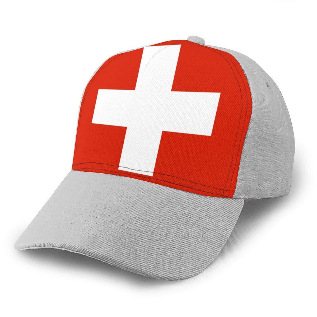 Y94OIW@MAO Switzerland Flag Peaked Cap for Men and Women Cotton Snapback Cap