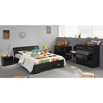 Schlafzimmer Set in Schwarz Hochglanz Bett 140x200 (5-teilig ...
