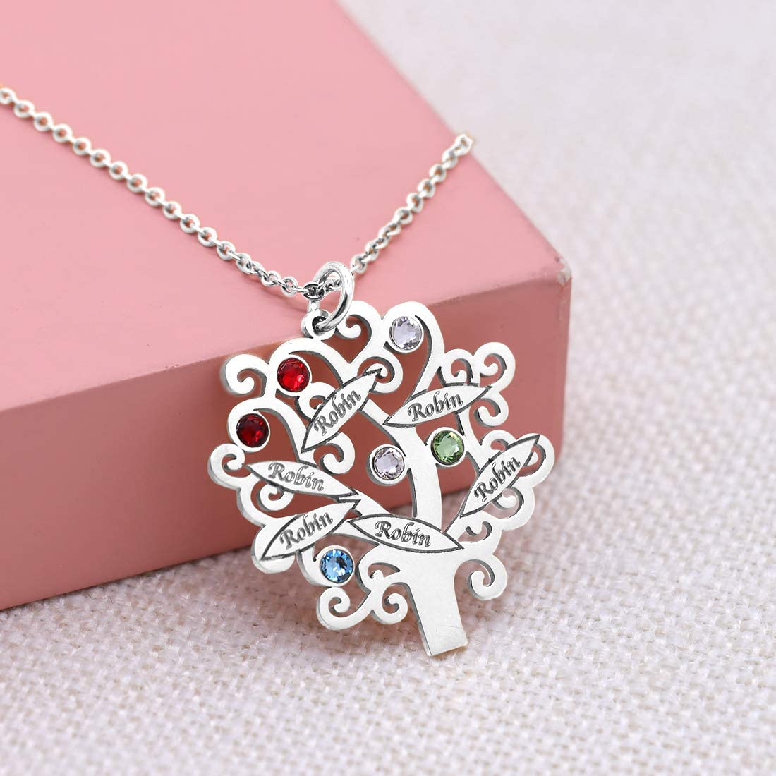 KIKISHOPQ Mother Tree Custom Birthstone Name Necklace for Christmas