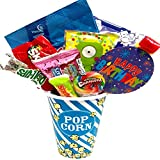 #4: Movie Night Popcorn and Candy Gift Basket Plus Free Redbox Movie Rental Code Gift Card - Includes Popcorn Bucket, Movie Theater Popcorn and Delicious Candy Snacks (Happy Birthday!)
