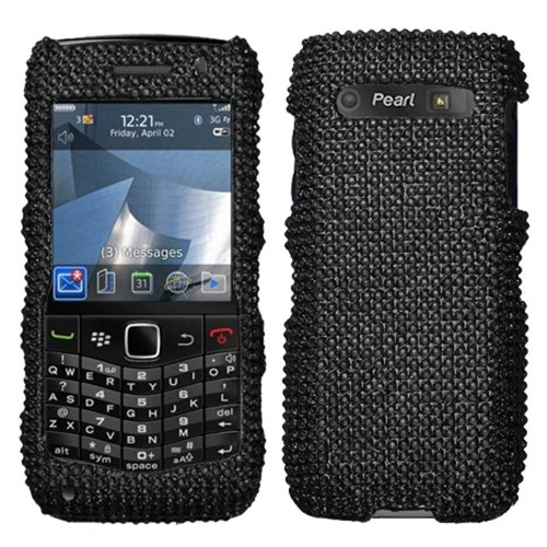 Asmyna BB9100HPCDMS003NP Dazzling Luxurious Bling Case for BlackBerry Pearl 3G 9100/9105 - 1 Pack - Retail Packaging - Black - Pearl Blackberry Faceplates