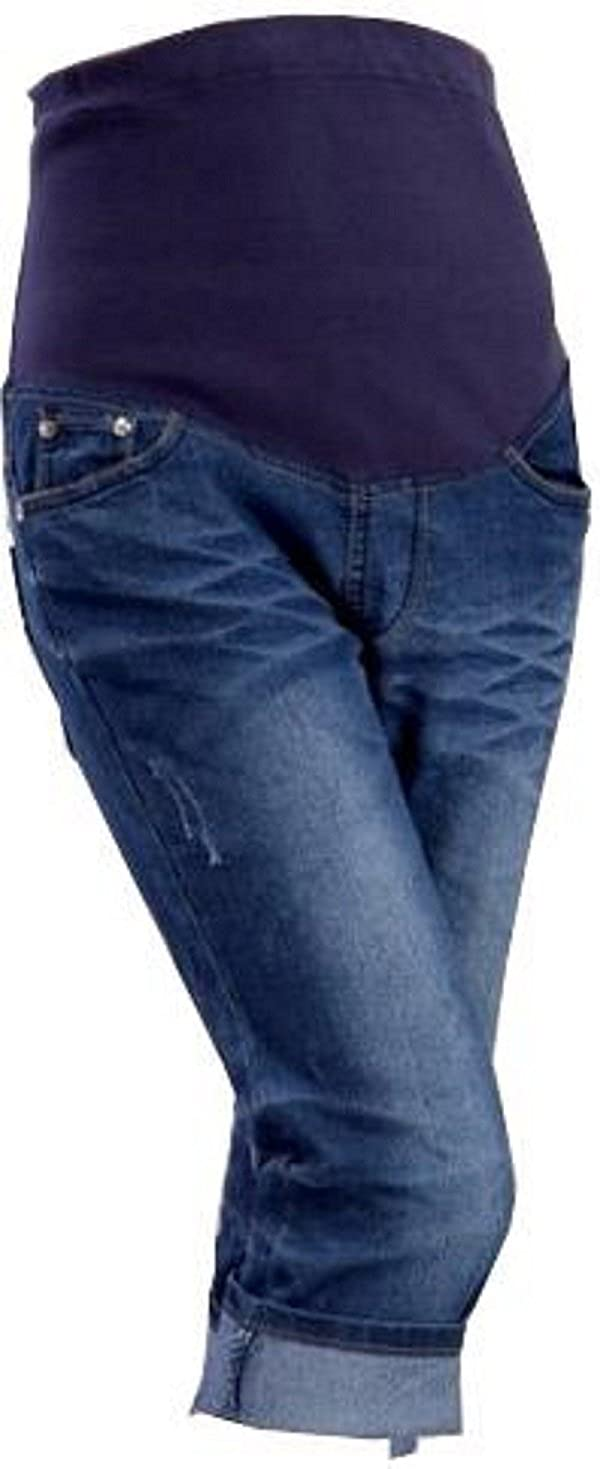 Blue Denim Cropped Capri 3/4 crop Over or Underbump Maternity Jeans 8 10 12 14