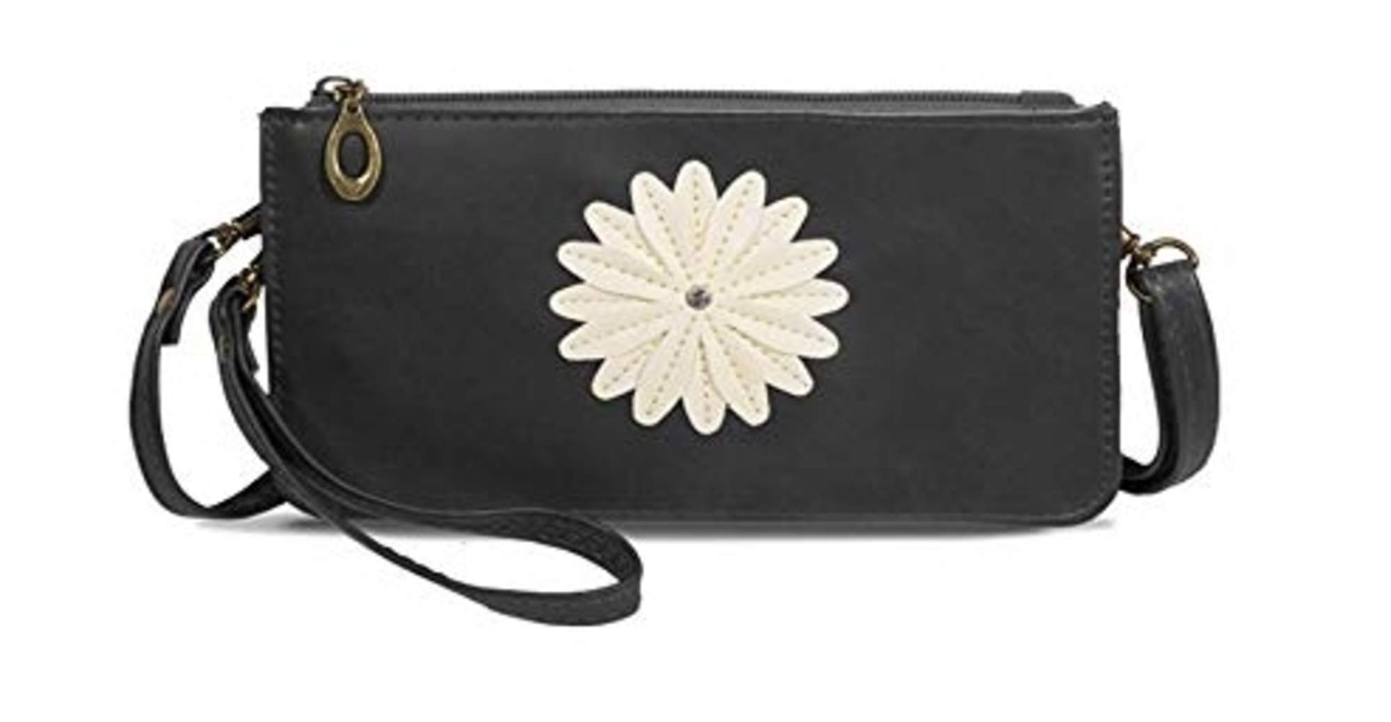 Traditional (Touch Screen) Cell Phone Purse with Zipper and two Pockets - Midnight Black by Save the Girls Touch Screen Purses (Image #1)