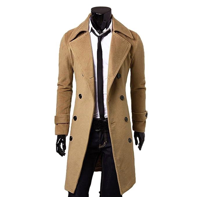 Amurleopard Cappotto Lungo Uomo Sottile Doppio Petto Sbalzato trench-coat  Inverno Caldo Giacca verde M EU XS  Amazon.it  Abbigliamento 058d9f65856