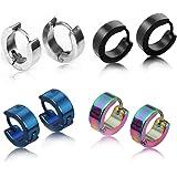 Ecloud Shop/® Pair Men Stainless Steel Rhinestone Huggie Hoop Stud Earrings 0.55x0.16