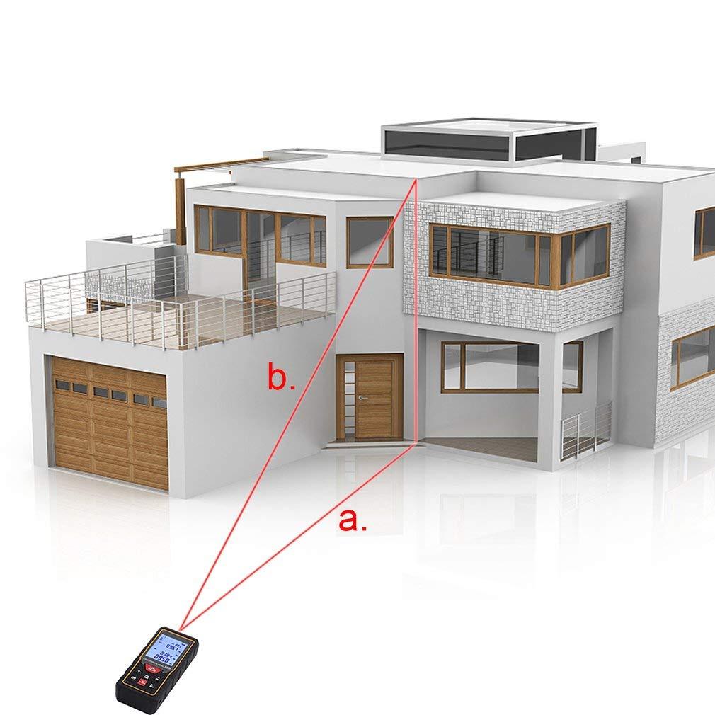 HD 60m tel/émetro l/áser medidor laser de distancia con LCD pantalla digital medici/ón autom/ático con 2 AAA pilas//lazo de mano//bolsillao medici/ón de distancia///área// volumen 2 mm alta precisi/ón