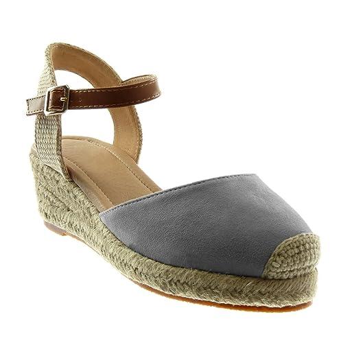 Grigio 37 EU Angkorly Scarpe Moda Sandali con Cinturino Alla Caviglia ytv