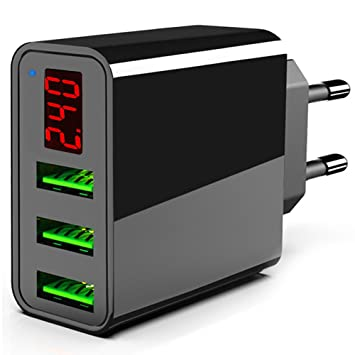 TTMOW Cargador USB de Pared con Pantalla LCD Visualización, Corriente Máxima De 2,4A por Cada Puerto (5V/3A), Compatible con Más Teléfonos ...