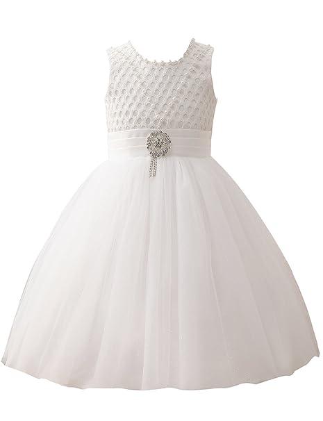 Erosebridal Primera Comunión Vestidos Flor Vestido Niña Con Broche Blanco Tamaño 34