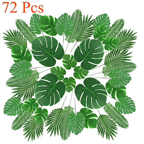 72 Pcs 6 Kinds Artificial Palm Leaves with Faux Monstera Leaves, Stems Zibo Gl Vase on