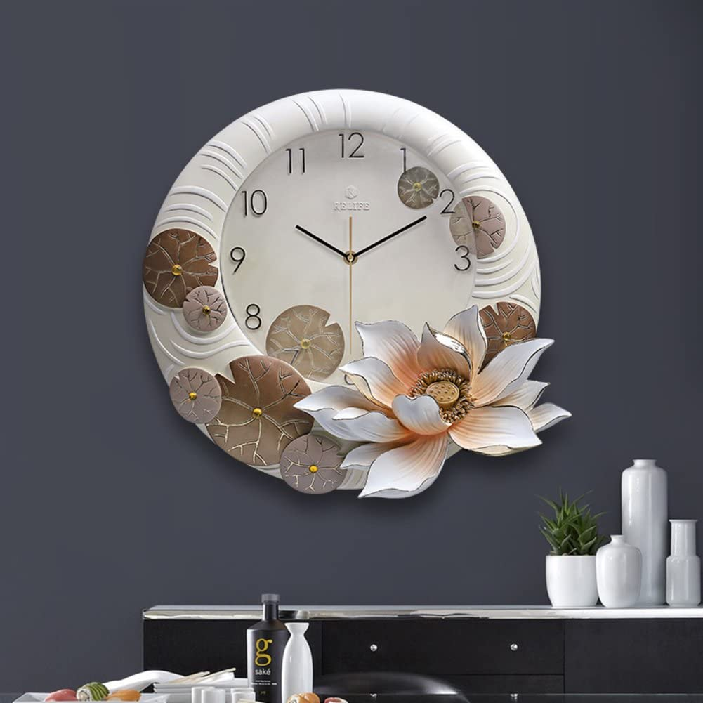 [chinese style] Wall clock Vintage Three-dimensional relief Lotus Clock Resin Silent Decorative Quartz Clock-yellow 51x45cm(20x18inch)