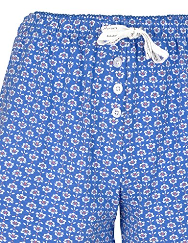 Bee Happy 2173301-11849 Women's Blue and Pink Floral Print Cotton Pajama Pyjama Short