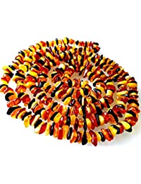 47 inches (120cm) Length Natural Baltic Amber Necklace / Multicolour Beads / Certified Genuine Baltic Amber