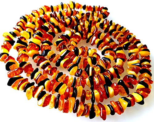 47 inches (120cm) Length Natural Baltic Amber Necklace / Multicolour Beads / Certified Genuine Baltic Amber by AMBERMILANA