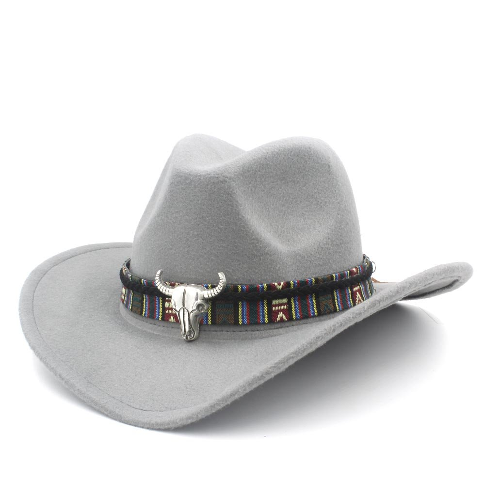 Hat- Cappello Moda Donna Uomo Western Cowboy Cappello Lady Jazz Cowgirl Sombrero Caps (Colore : Blu, Dimensione : 56-58cm) beijingpengxindayuanshan