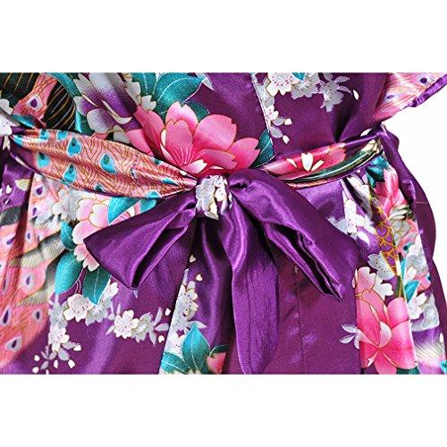 Raso Notte Vestaglie scuro Camicie da Donna e Pigiami e Pavone WYSMOL Allattamento Kimono Accappatoi Viola RzEqdRa