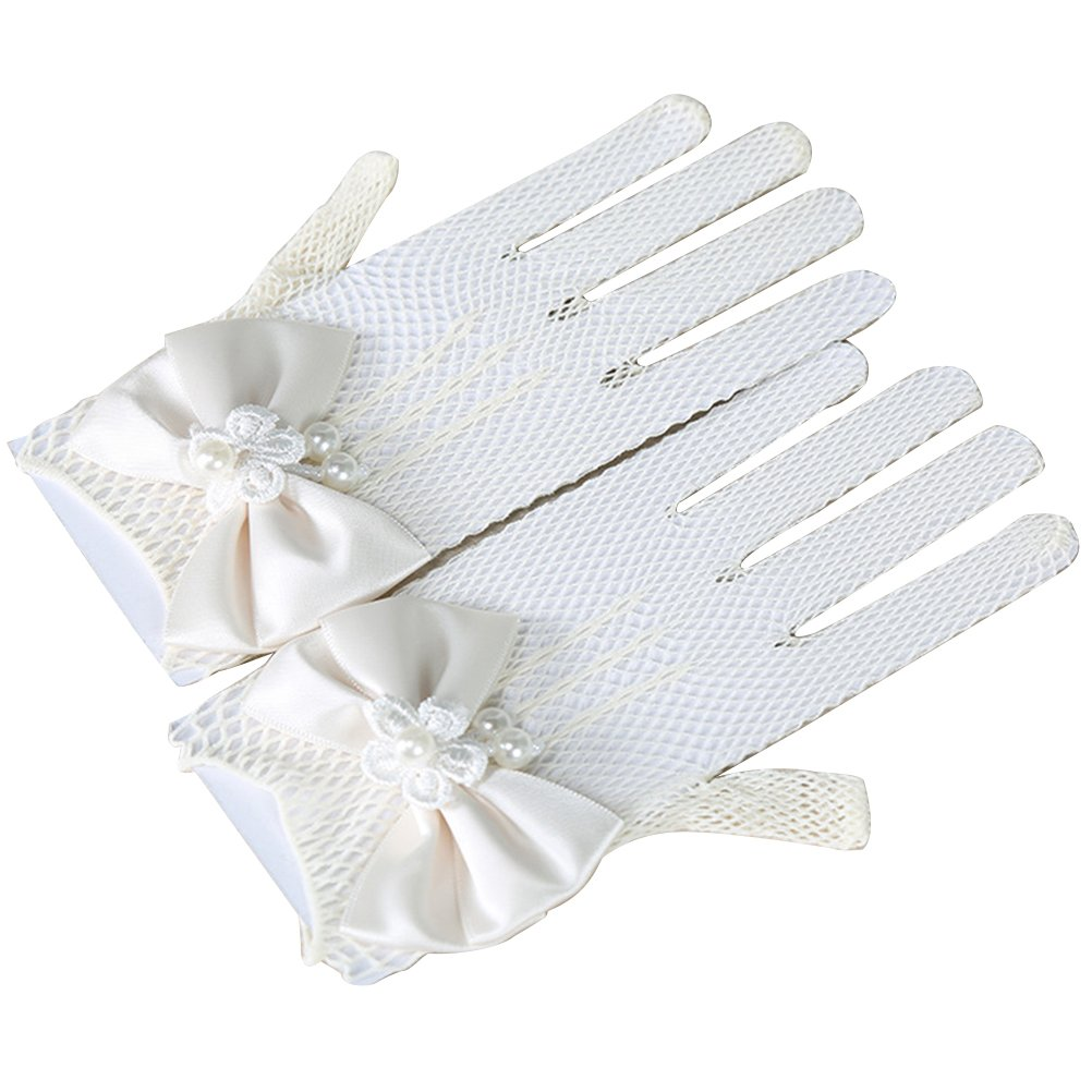 Tinksky Flower Girl Gloves Lace Short Princess Mesh Gloves for Wedding (White) AO0J182634BYYHT5094