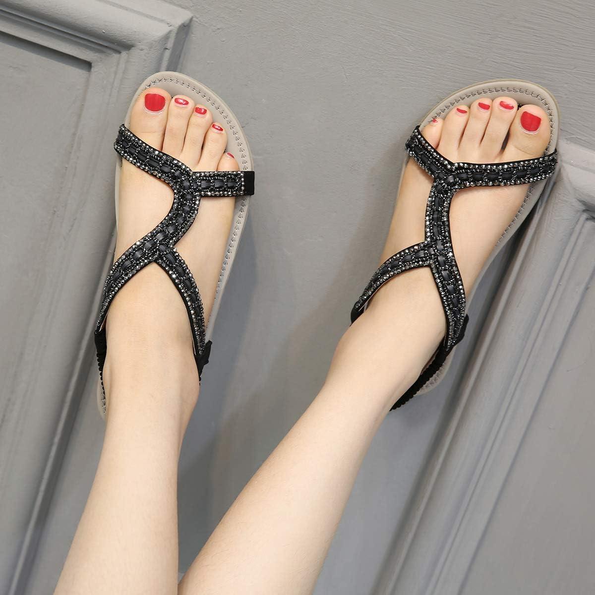 KSHUN Womens Summer Casual Bohemian Flat Sandals Rhinestone Beach Flat Sandal Shoes Black,US 5.5