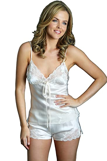 e0c10e5adf Silk Cocoon Women Camisole and French Knickers Two Pieces Set Self Coloured  Lace Trimmed- Pure