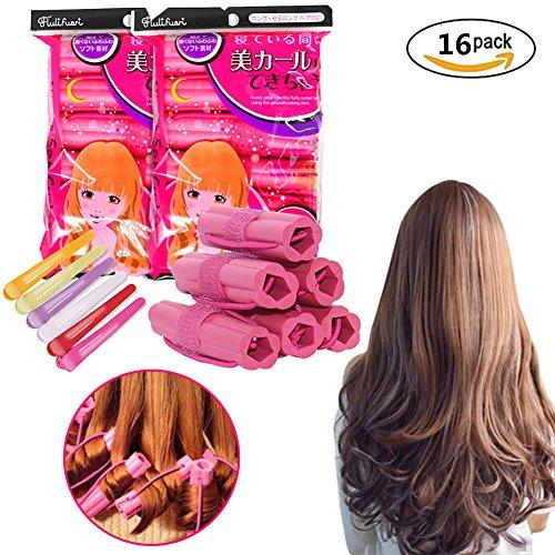Hair Roller Set - 16 Pack Hair Curler Sleep Flexi Hair Roller DIY Curling Tools For Long Short Thin Thick Hair Including Multicolor Plastic Hair Clips