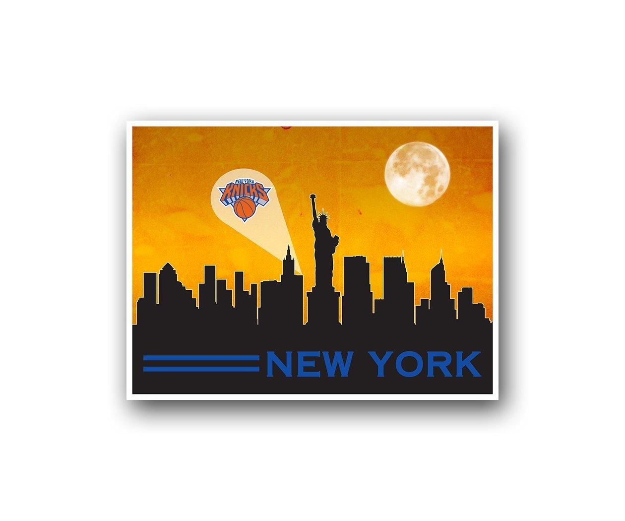 Amazon.com : New York Knicks Poster Sports Art City Skyline Print ...
