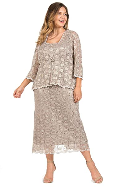 R&M Richards Long Plus Size Mother of The Bride Dress