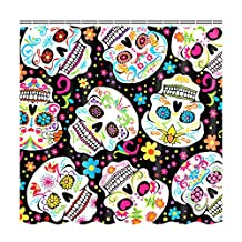 Colorful Sugar Skulls Customize Waterproof Polyester Fabric Bathroom Shower Curtain 72*72 Inch