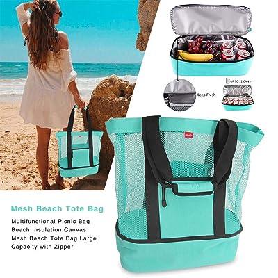 Bolsa de Playa portátil de Malla Bolsa de Picnic Multifuncional Aislamiento de Playa Bolsa de Almacenamiento de Lona de Gran Capacidad con Cremallera para Viajes de Playa Camping: Hogar