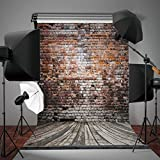 DODOING 5x7ft Wood Flooring Vintage Bricks Wall Photography Backdrop Backgrounds for Photo Studio