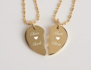 Amazon engraved extra small gold stainless steel couples amazon engraved extra small gold stainless steel couples broken heart necklace pendant set personalized free office products aloadofball Images