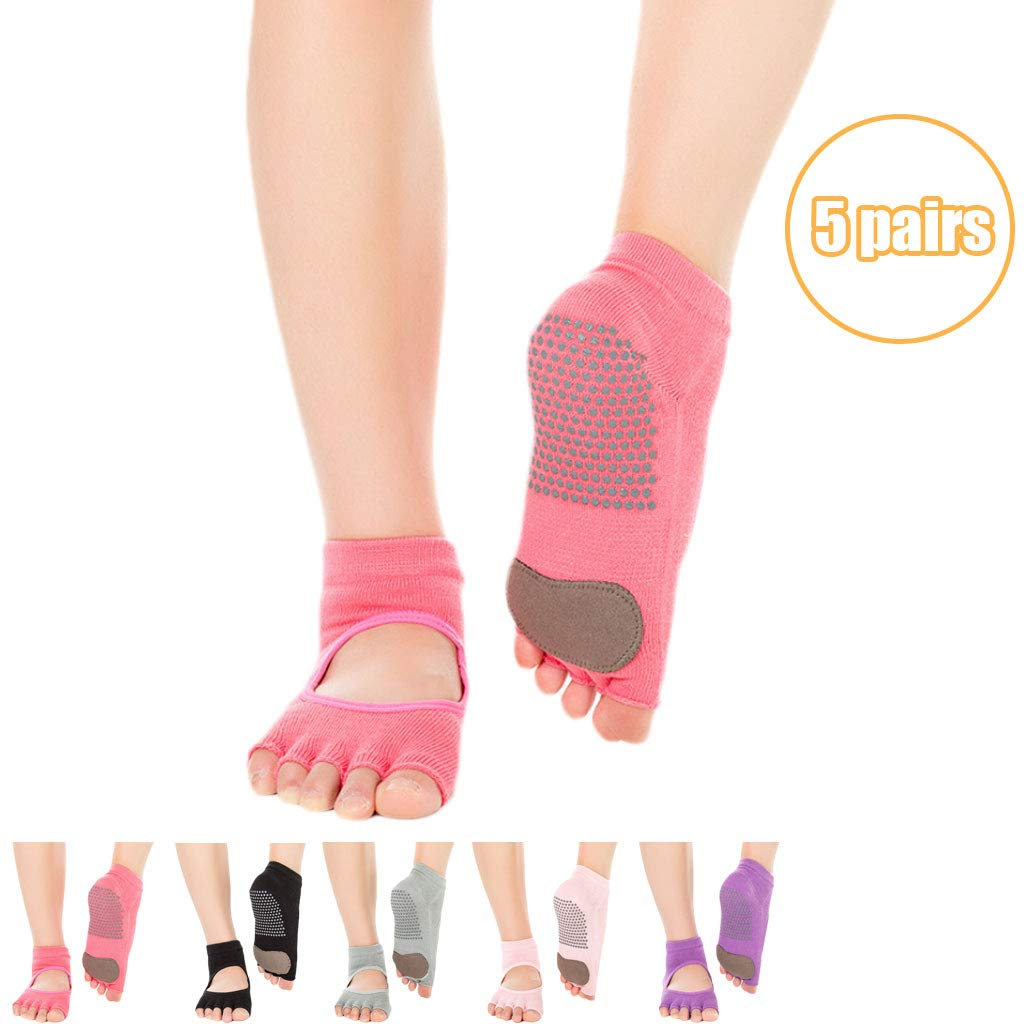 Red5pairs Womens Yoga Socks Non Slip Soft Pilates Socks with Grips Toeless Anti Slip No Show Ankle Sock for Barre Sports Workout Trainer Allegro Style One Size Code (3539Eu)