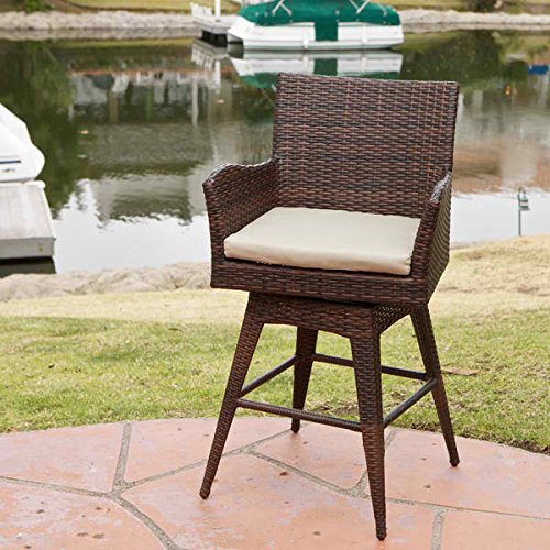 Outdoor and Patio Swivel Armed Barstool with Beige Brown Color and Finish. Made with Iron Wicker Material ()