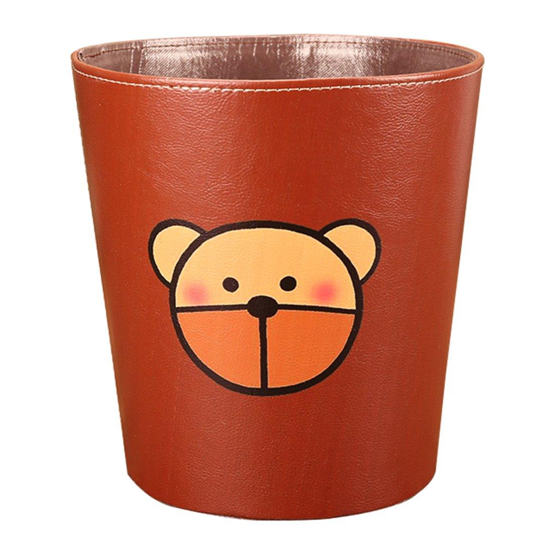 Paper Bin, Foxom Waterproof PU Leather Children's Bedroom Waste Paper Bin Trash Can Garbage Bin Wastebasket (Pattern-1)