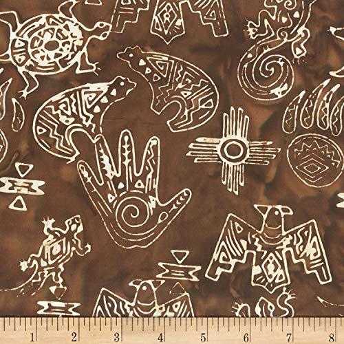 Anthology Batiks Anthology Specialty Batik Southwest Symbols Brown, Fabric by the Yard