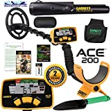 Garrett ACE 200 Metal Detector with Waterproof Search Coil & Accessories Bundle