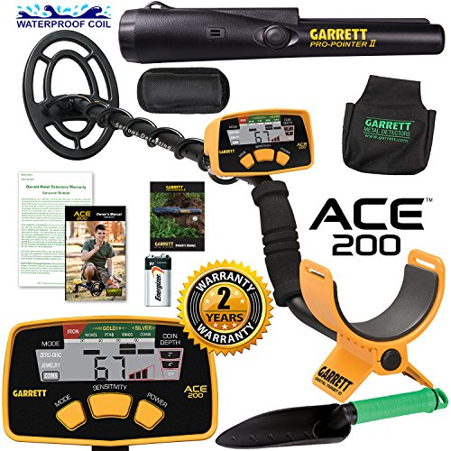 Garrett ACE 200 Metal Detector with Waterproof Search Coil & Accessories Bundle by Garrett