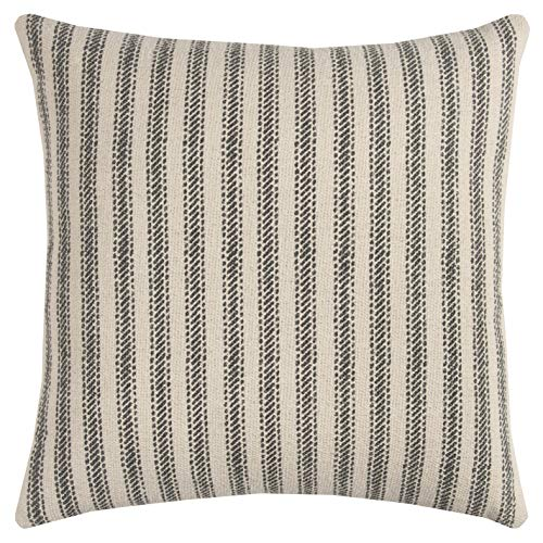 "Rizzy Home T11038 Decorative Poly Filled Throw Pillow 20"" x 20"" Gray from Rizzy Home"