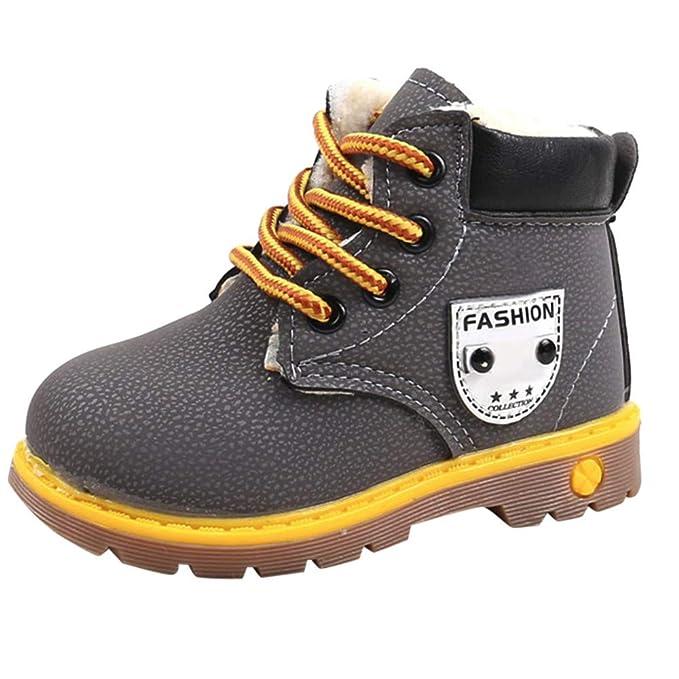 YanHoo Zapatos para niños Botas Individuales para niños más Botas Gruesas de algodón con Viento británico