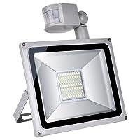 Yuanline® 50W LED Projecteur Détecteur de Mouvement Imperméable IP65 Lampe Led Spot pour Jardin, Cour, Couloir, Mur,Éclairage extérieur et Intérieur,Lumière Blanc Froid 4000Lumen