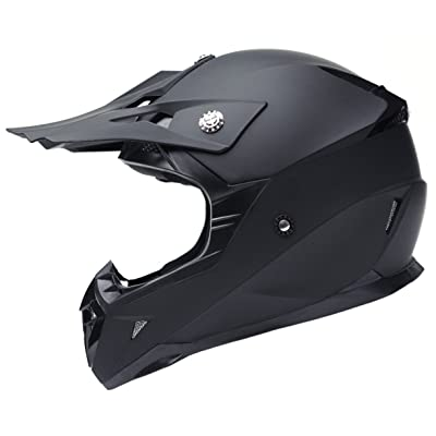 Motorcycle Motocross ATV Helmet DOT Approved - YEMA YM-915 Motorbike Moped Full Face Off Road Crash Cross Downhill DH Four Wheeler MX Quad Dirt Bike Helmet for Adult Men Women - Matte Black,L: Automotive