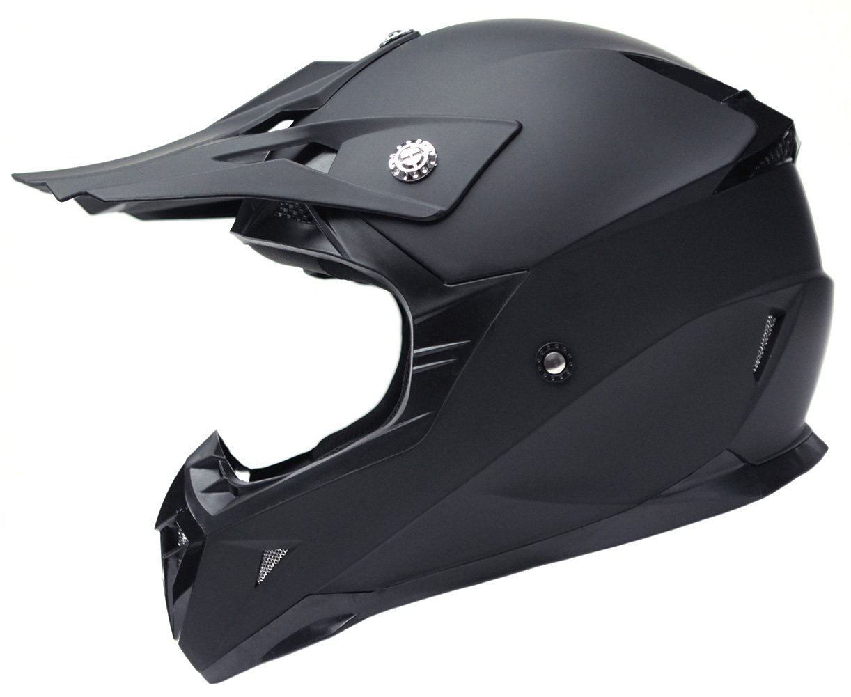 Motorcycle Motocross ATV Helmet DOT Approved - YEMA YM-915 Motorbike Moped Full Face Off Road Crash Cross Downhill DH Four Wheeler MX Quad Dirt Bike Helmet for Adult Men Women - Matte Black,Large