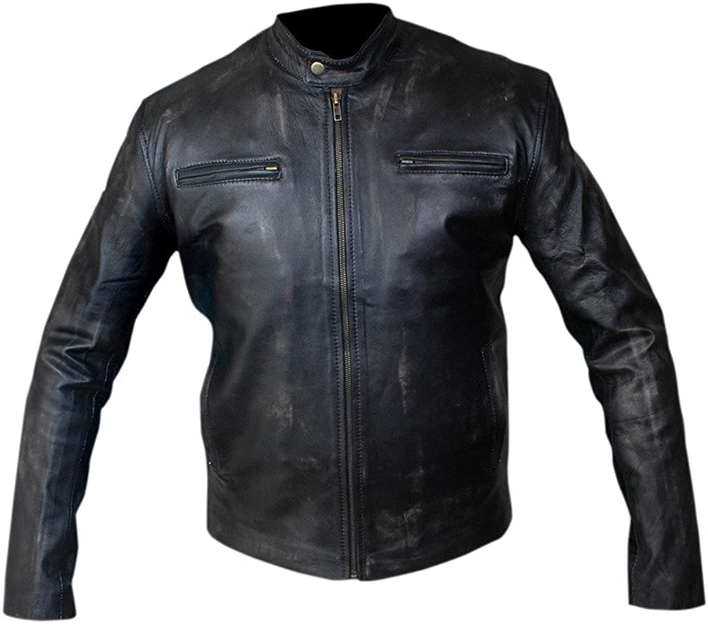 Flesh & Hide F&H Men's Mark Wahlberg Contraband Genuine Leather Distressed Jacket